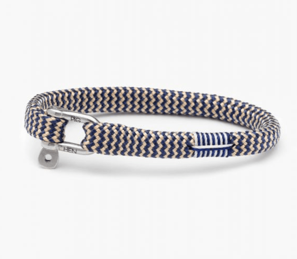 Pig and Hen Mens Accessories Vicious Vic Bracelet in Navy / Sand / Silver