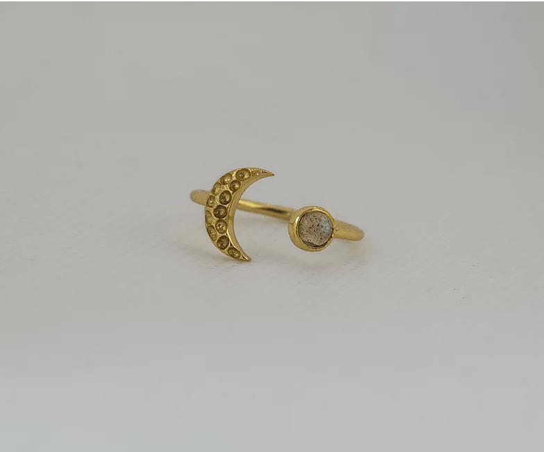 Gold Adjustable Moon Ring