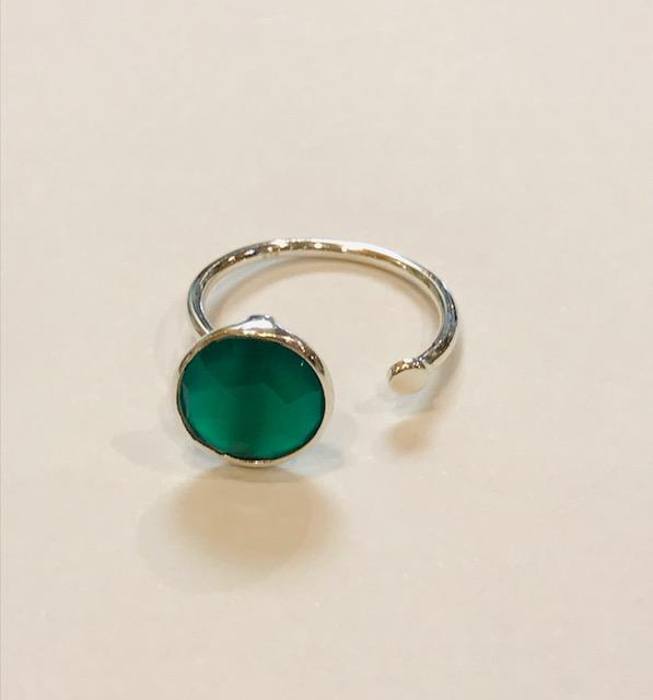 Green Onyx Silver Plated Simple Ring