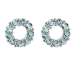 Pomegranate Earrings Halo Stud Earrings Blue Topaz