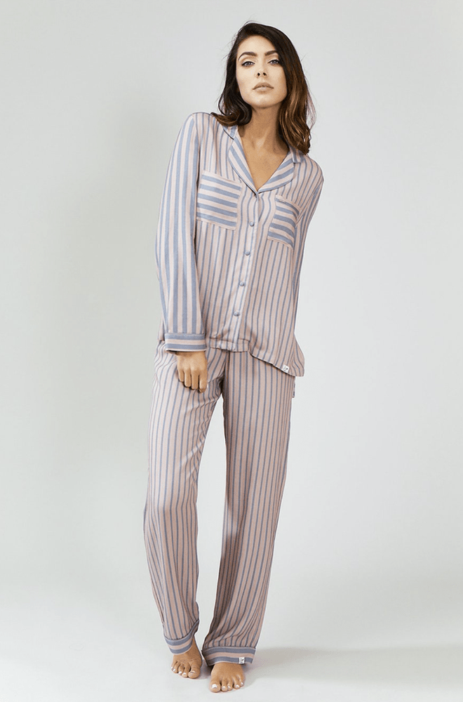 Striped Pyjama Set in Grey and Pink