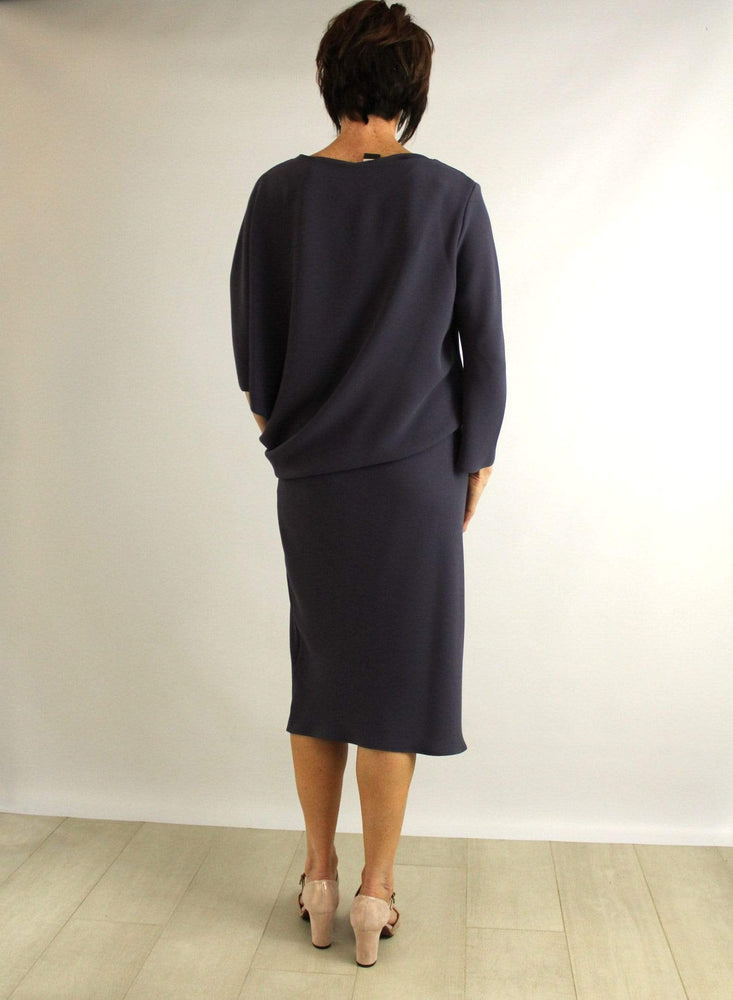 Roisin Linnane Dresses Clara Drape Dress with One Sleeve in Slate