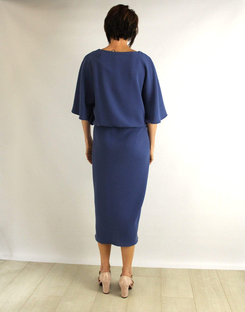 Roisin Linnane Dresses Melissa Batwing Knee Dress in Air Force Blue