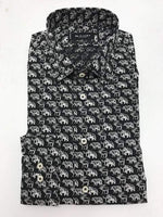 SAND - Mens Mens Shirts Modern Fit Shirt in Black Animal Print