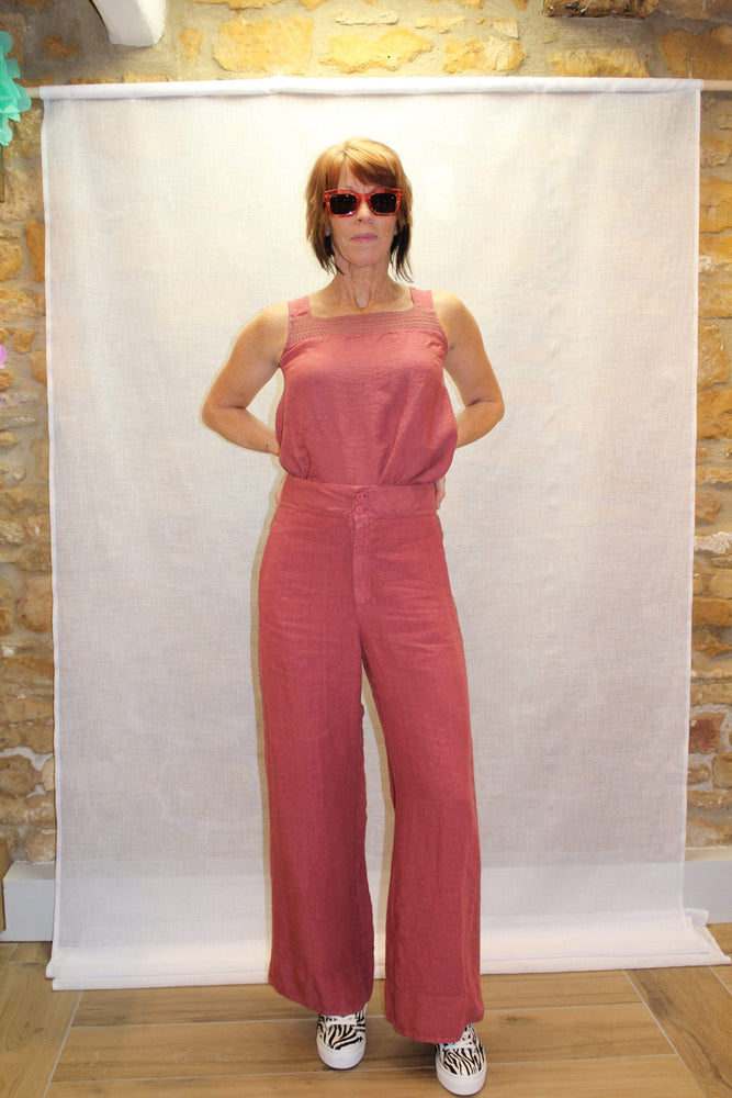 Crochet and Linen Wide Leg Trousers in Clay