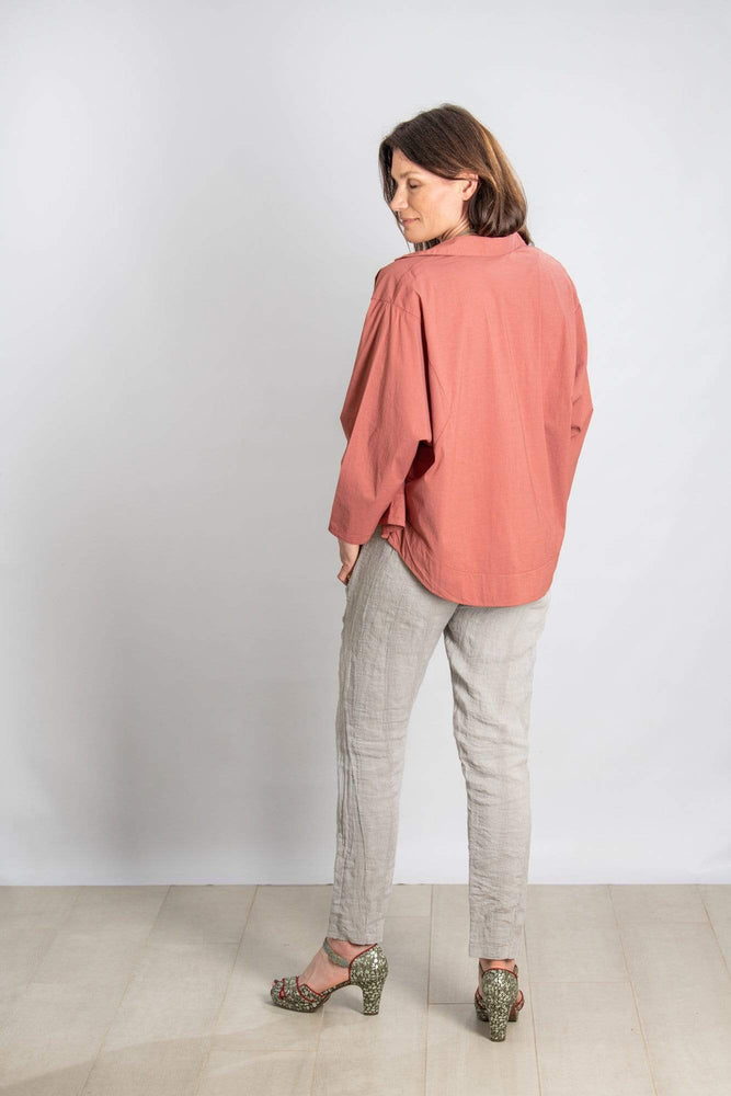 Transit par Such Trousers Textured Stripe Trousers in Pale Stone