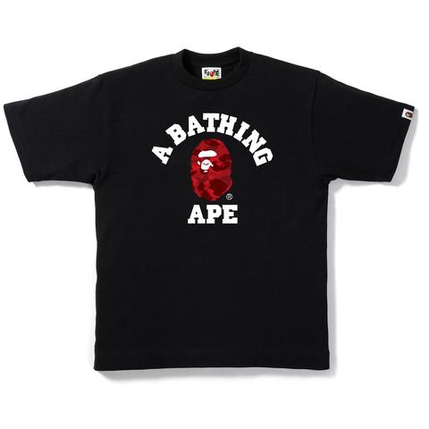 Bape Color Camo College Tee - Black W/ Red Camo