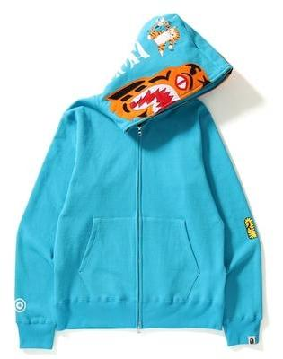 Bape Tiger Full Zip Up Hoodie - Teal Blue