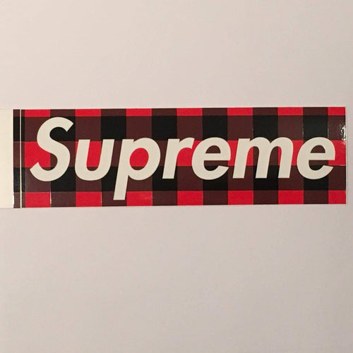 Supreme Buffalo Plaid Box Logo Sticker - Red
