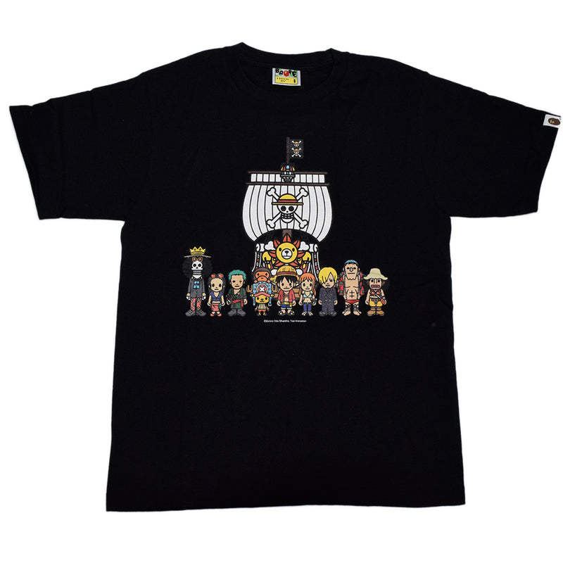 Bape Baby Milo X One Piece Straw Hat Crew Tee - Black