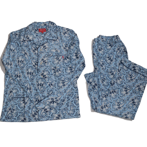 Supreme Paisley Flannel Pajama Set - Blue -*