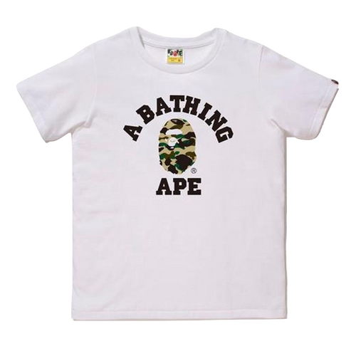 Bape ABA College Logo Tee - White/Yellow Camo