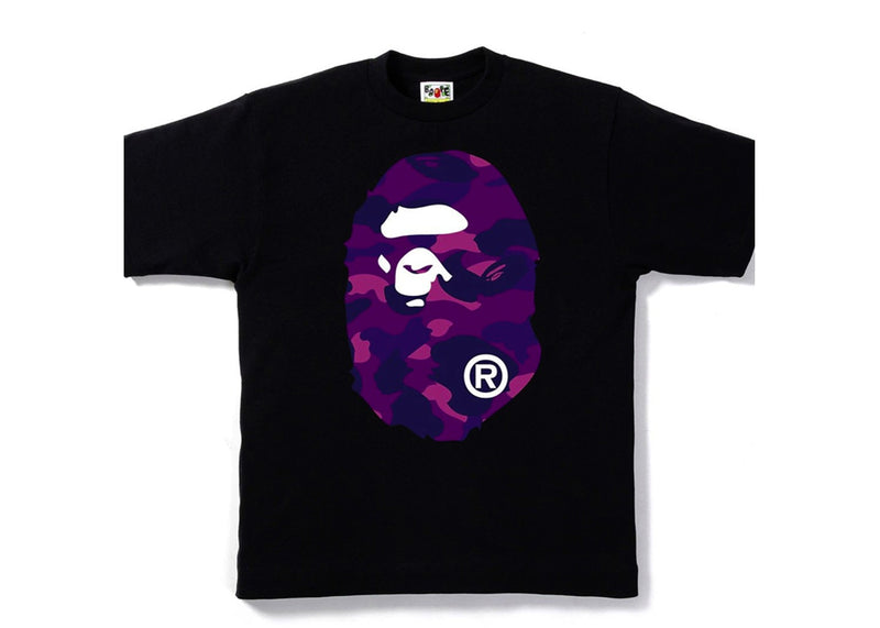 Bape Big General Ape Head Tee - Black/ Purple Camo