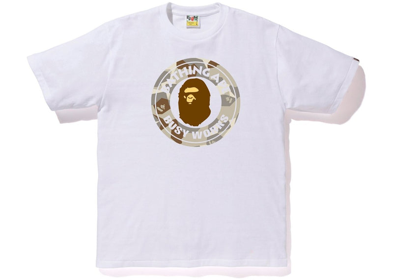 Bape Busy Works Tee - White/ Splinter Camo