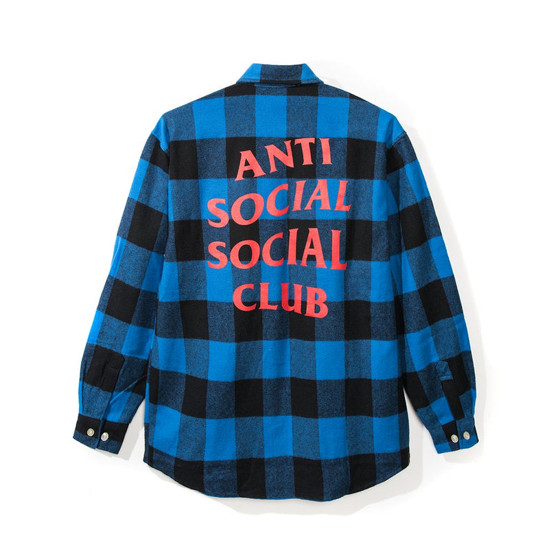 Anti Social Social Club Flannel - Blue w/ Orange-*