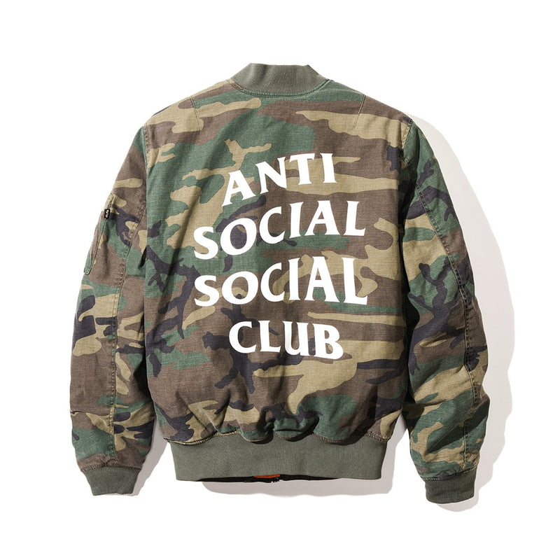 Anti Social Social Club MA1 Jacket - Green Camo w/ White-*