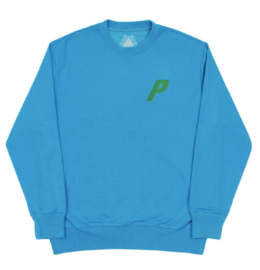 Palace Flocka P Crewneck - Teal Blue-*