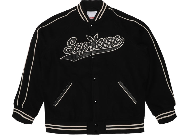 Supreme Playboy Wool Varsity Jacket - Black