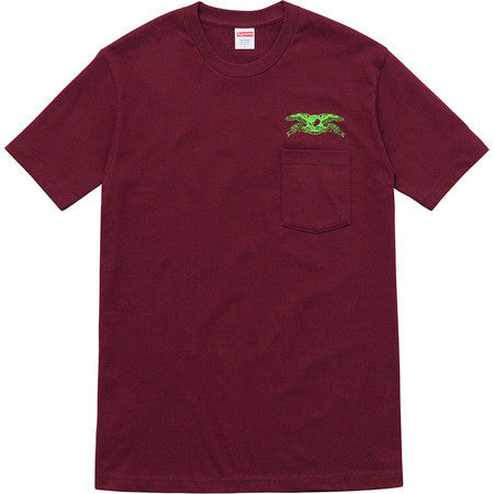 Supreme Anti Hero Eagle Pocket Tee - Burgundy