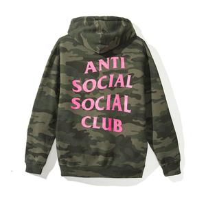 Anti Social Social Club Break Me Hoodie - Green Camo / Pink