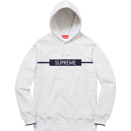 Supreme Chest Twill Tape Hooded Sweatshirt - Grey - CopvsDrop