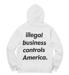Supreme Illegal Business Hooded Sweatshirt - Ash Grey