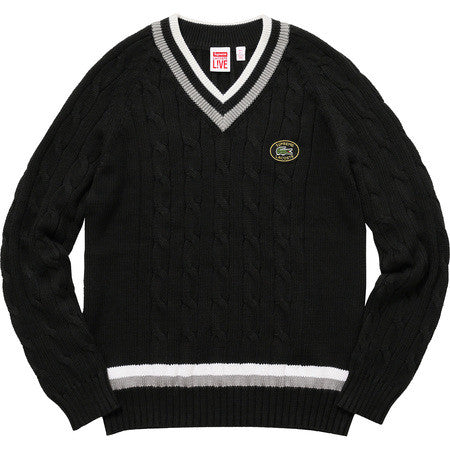Supreme Lacoste Tennis Sweater - Black