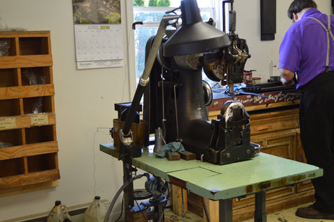 Scafell Pike Co. the making of the leather goods in shop