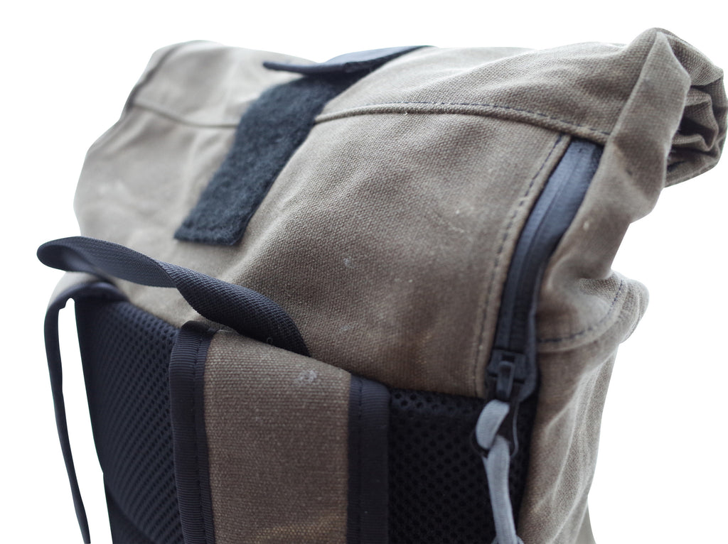 Waxed Canvas Roll Top Handmade in USA Backpack by Scafell Pike Co. and Inside Line Equipment