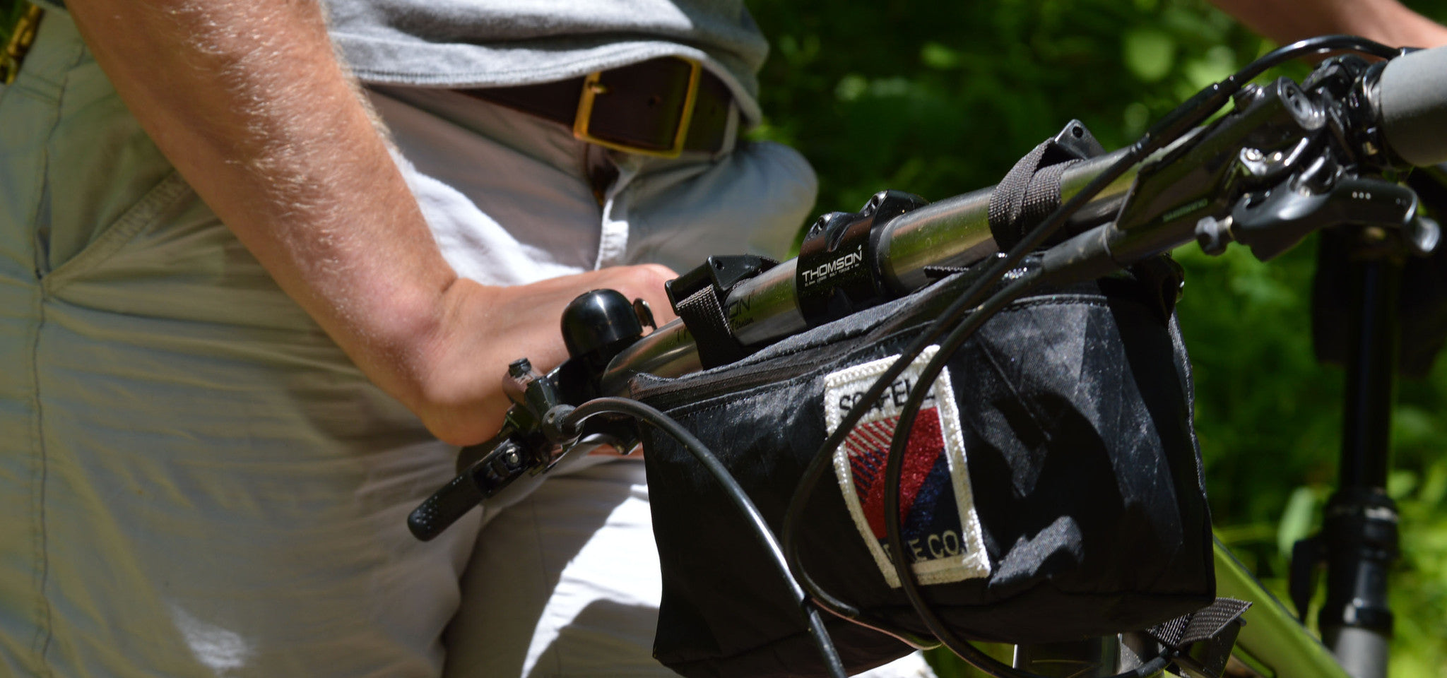 Handlebar Bag on No.22 Mountain Bike and Leather Belt