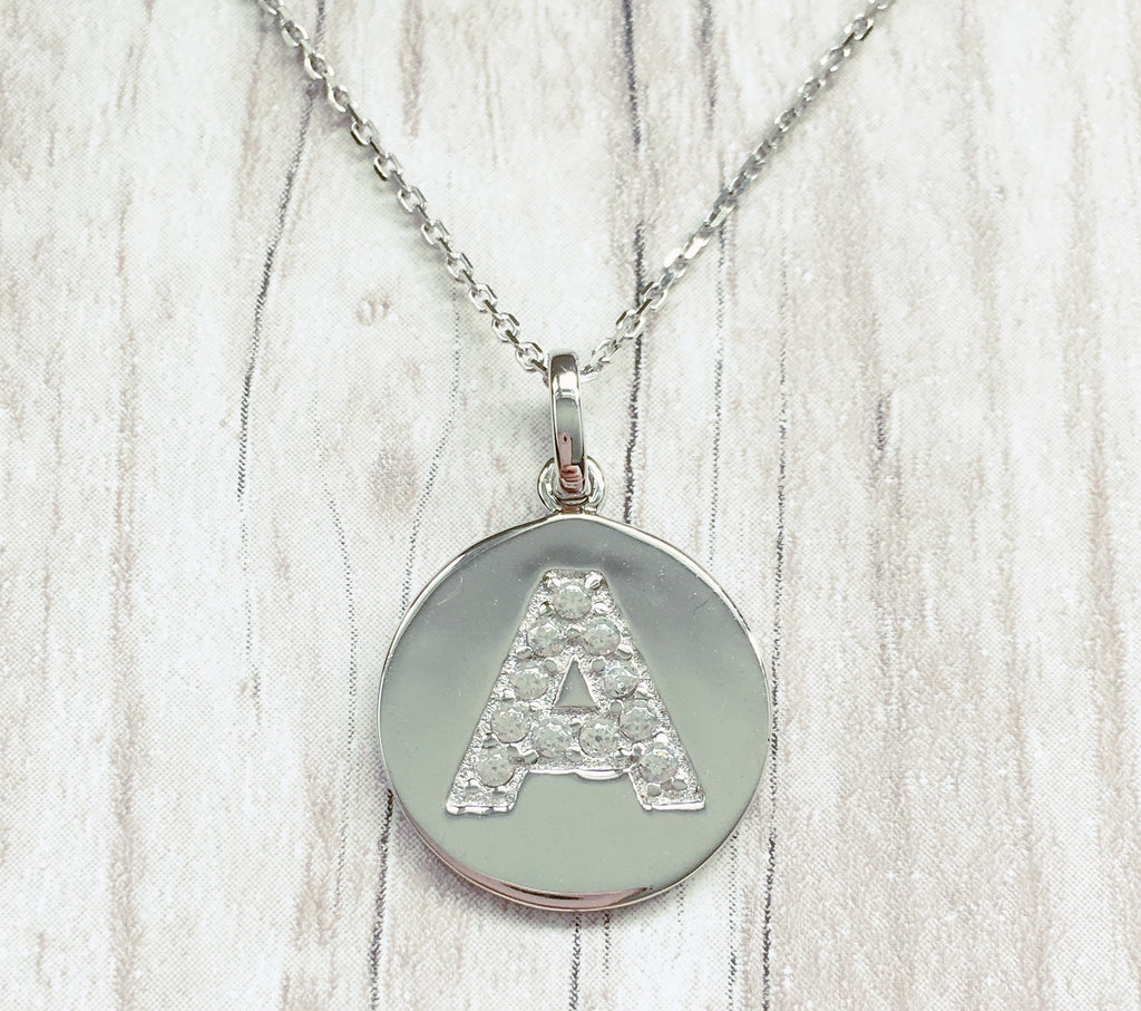 Silver initial disc pendant necklace alana jasmine jewellery silver initial disc pendant necklace aloadofball Image collections