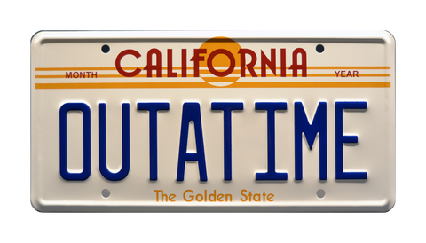 Full size OUTATIME license plate