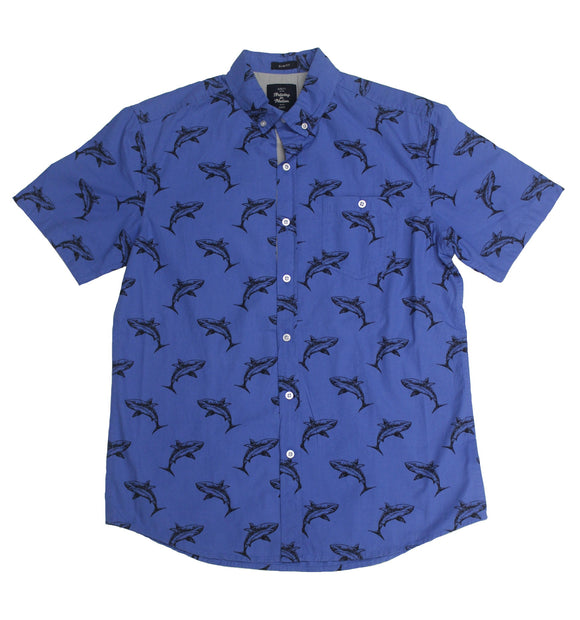 Shark Print SS Button-down - Super Massive Shop