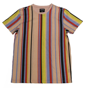 Double Pink VertStripe Collar Tee - Super Massive Shop