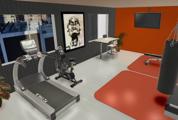 Corporate Gym 3D Render