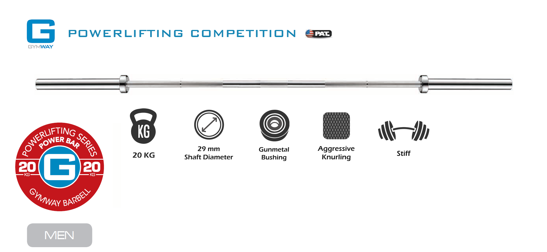 GYMWAY Competition Powerlifting Barbell Specs