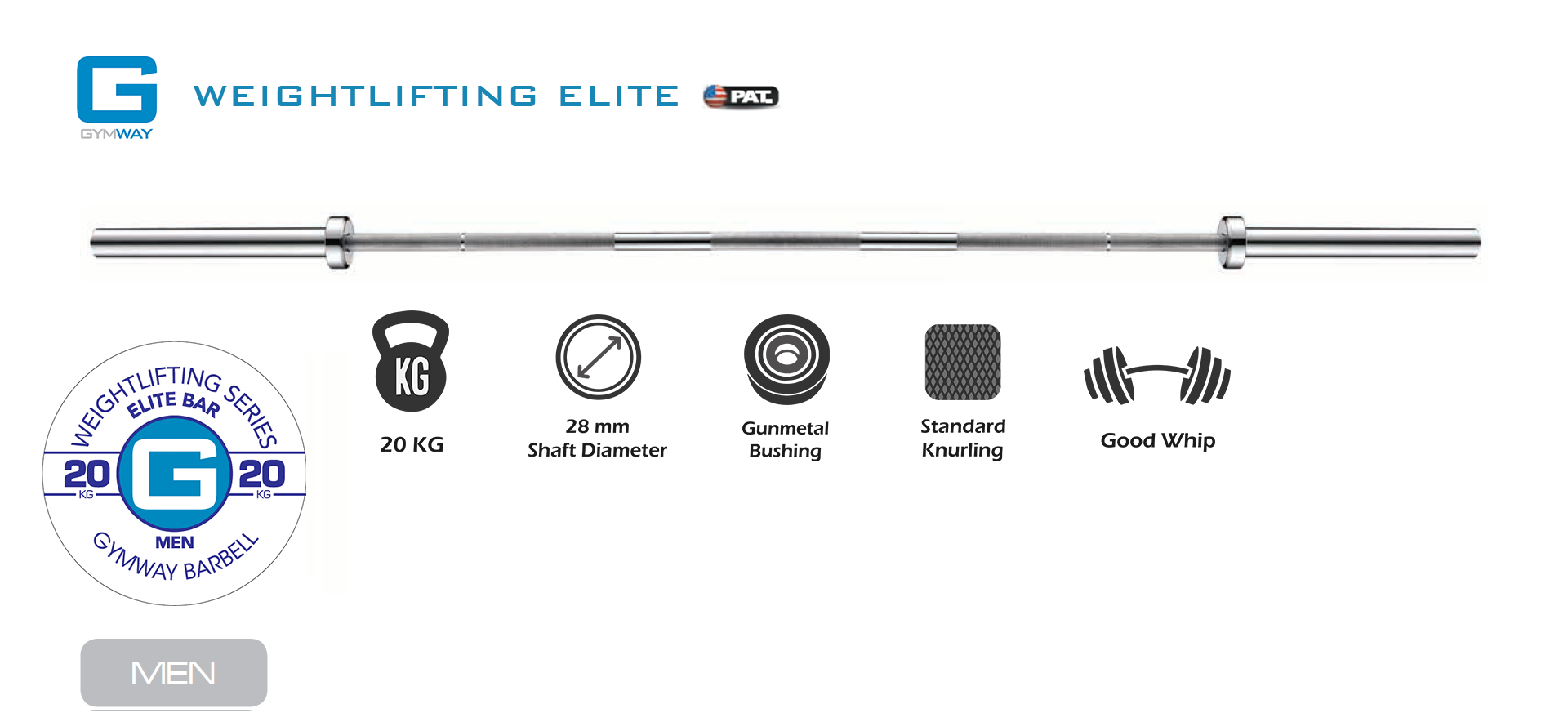 GYMWAY Elite Weightlifting Barbell Specs