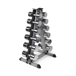 AlphaState Chrome Dumbbell Set + Pyramid - Gym Concepts