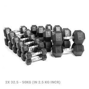 AlphaState Hexagon Dumbbell Set (32.5-50kg) - Gym Concepts