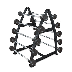 AlphaState Fixed PU Barbell (10-45kg) + Rack - Gym Concepts