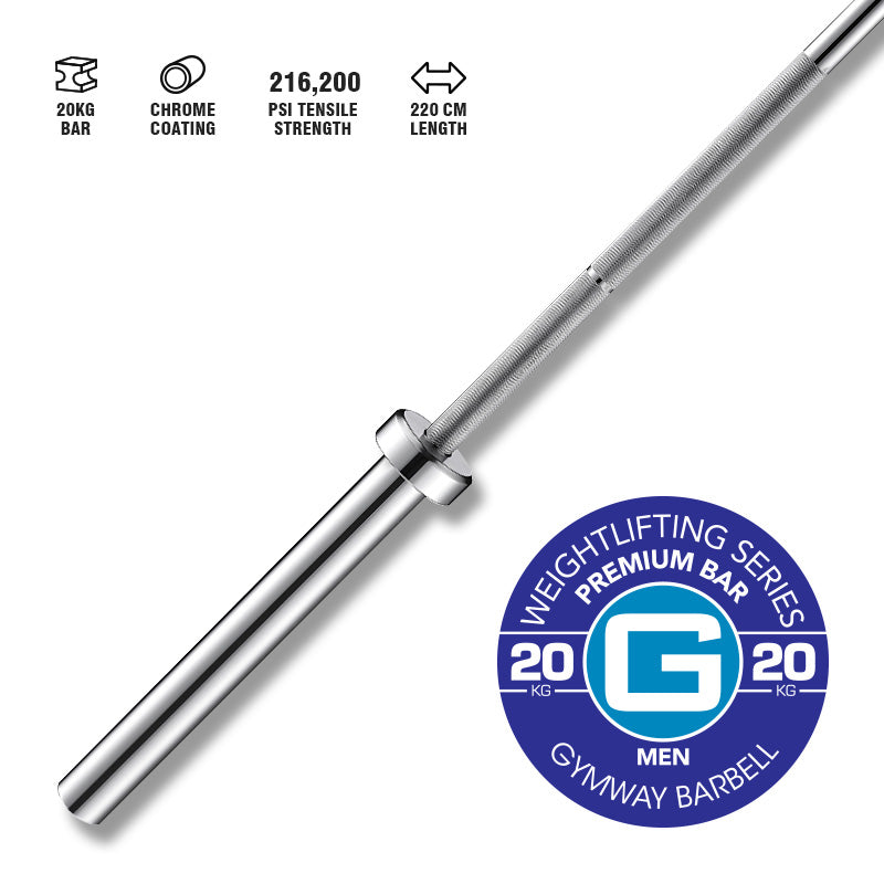 GYMWAY Premium Weightlifting Bar 20kg - Gym Concepts