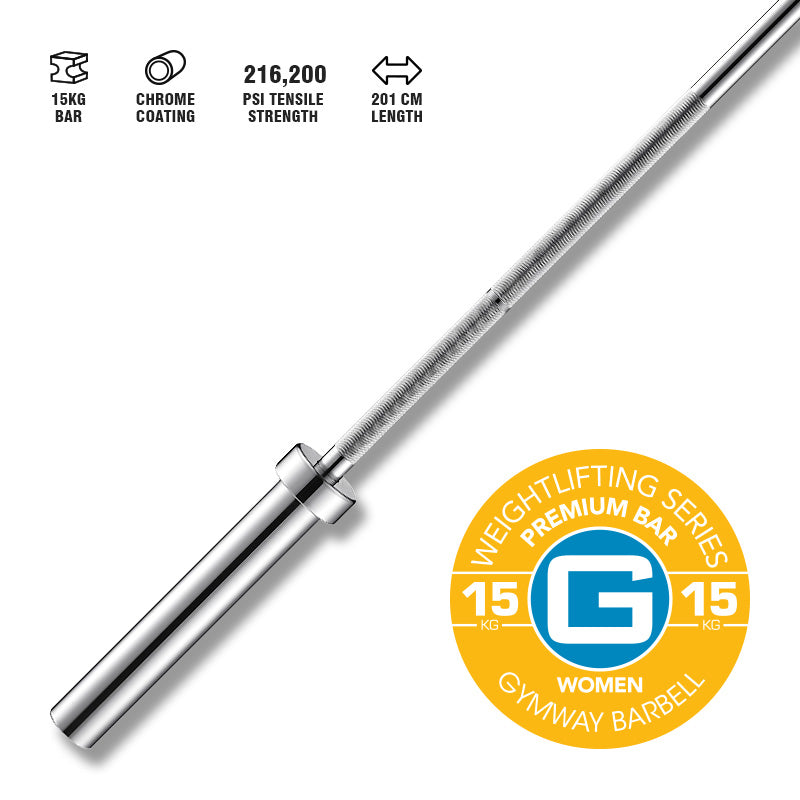 GYMWAY Premium Weightlifting Bar 15kg - Gym Concepts