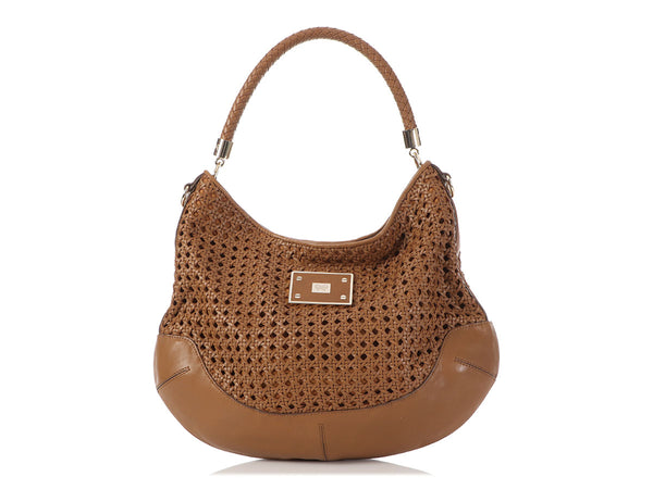 Anya Hindmarch Brown Woven Leather Jethro Hobo