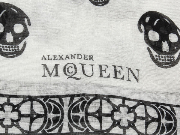 Alexander McQueen White and Black Skulls Scarf