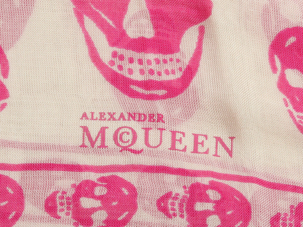 Alexander McQueen Pink and White Skull Scarf
