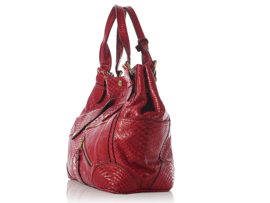 Alexander McQueen Red Python Faithful Tote