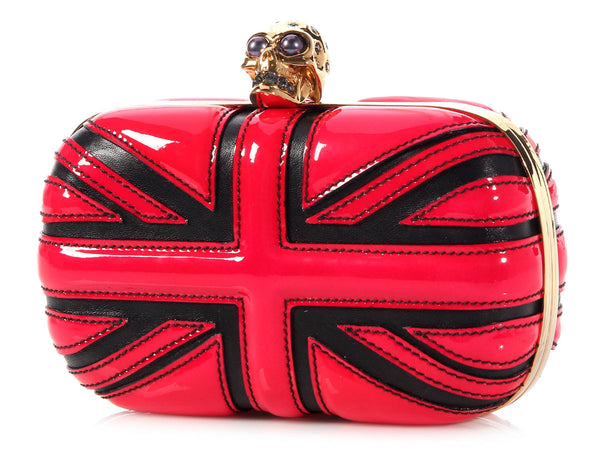 Alexander McQueen Red and Black Union Jack Clutch
