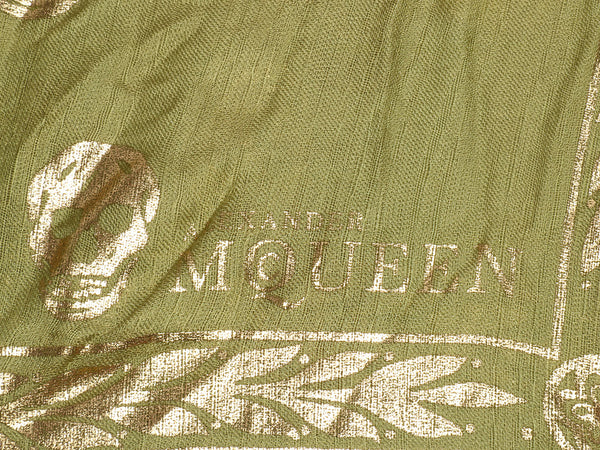 Alexander McQueen Green and Gold Skull Snake Scarf