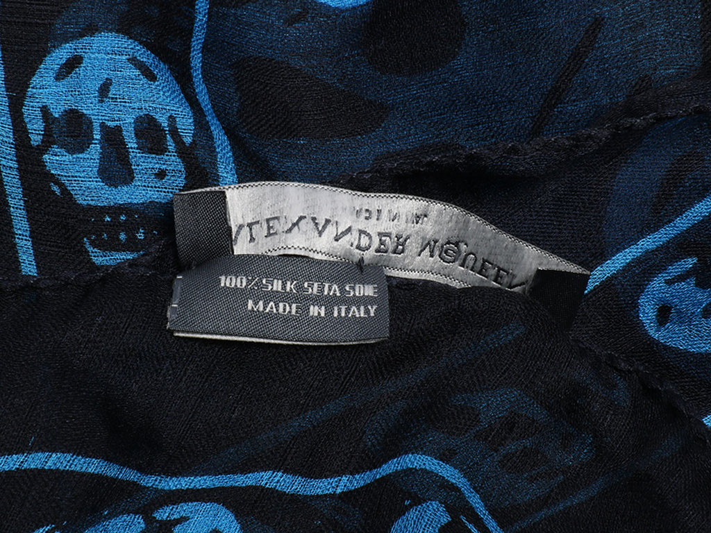 Alexander McQueen Navy and Blue Skull Scarf