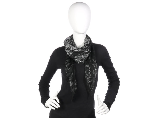Alexander McQueen Black and White Valentine Scarf